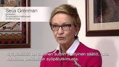 Syöpäsäätiön puheenjohtajan Seija Grénmanin tervehdys