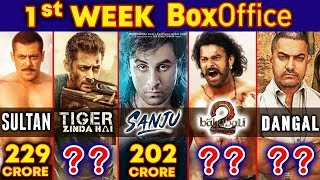 Baahubali 2 | Sultan | Tiger zinda hai | Sanju | Dangal - HIGHEST 1st WEEK COLLECTION | Box Office Video