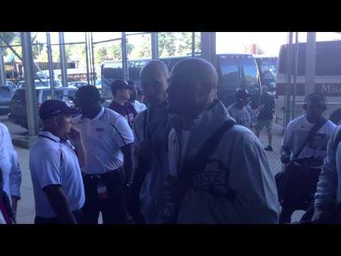 Tyler Russell and Dak Prescott arrive to Jordan-Hare Stadium