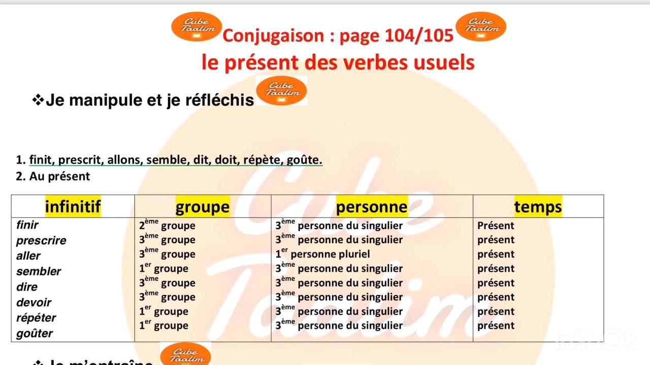 Corrigé des exercices page 104 conjugaison le présent des ...