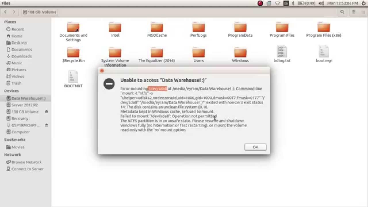How to access locked Windows drive from Ubuntu