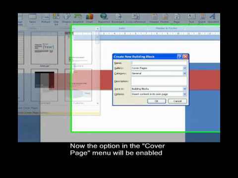 How to create a custom cover page in Word 2007 - YouTube