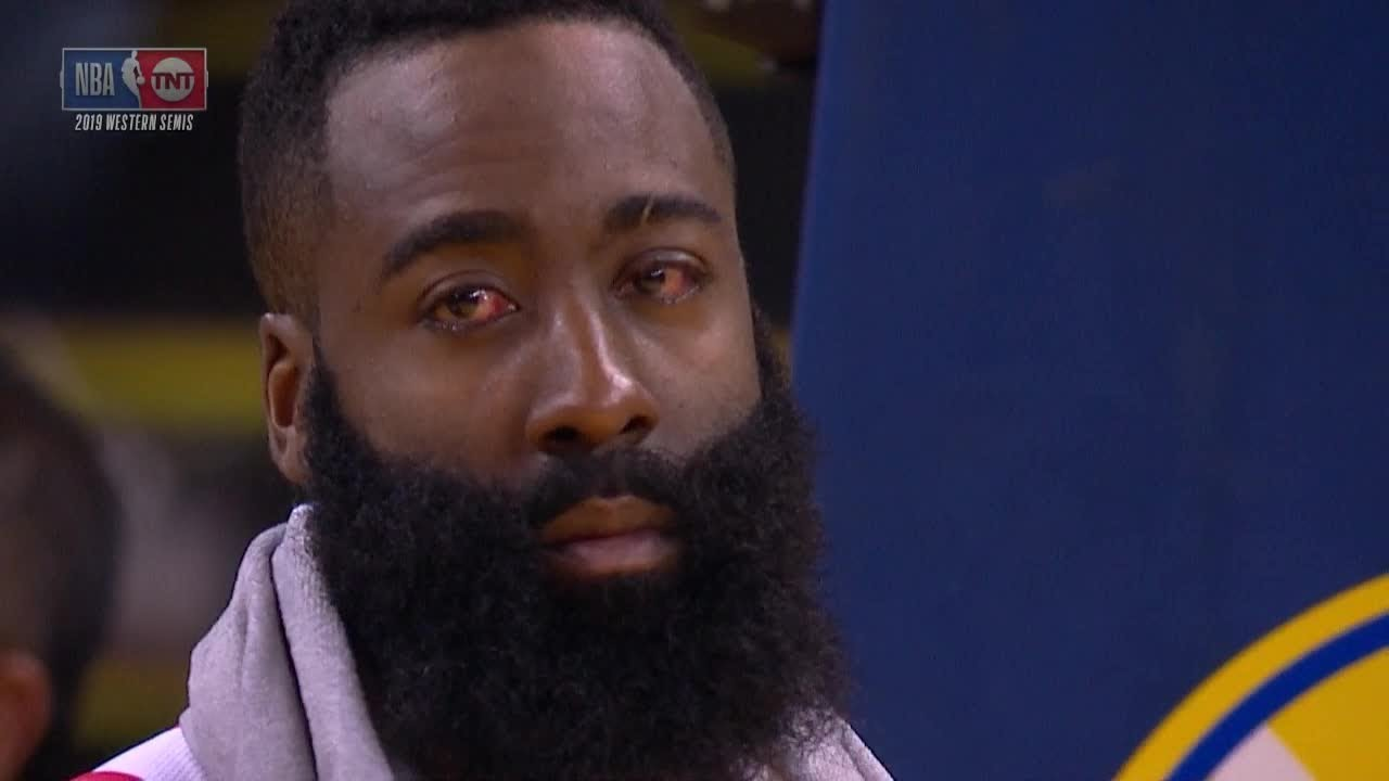 James Harden Gets Raked By Draymond, Plays Entire Game vs. Warriors with Bloody Eyes