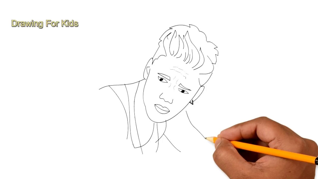 How To Draw Justin Bieber On Step By Step For Kid Easy Easy For
