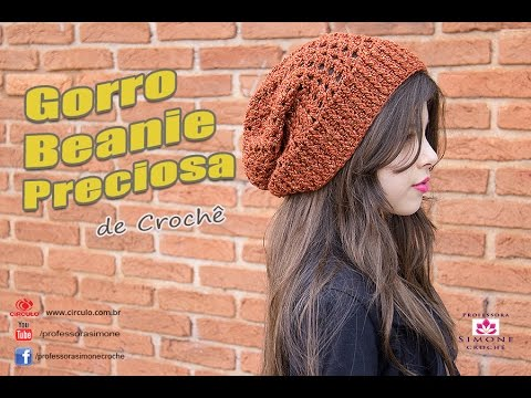 Gorro de Crochê Beanie Preciosa - Professora Simone - YouTube 03bc9879654