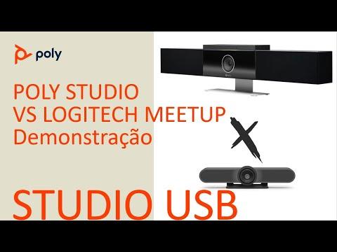 Poly Studio vs Logitech Meetup Enquadramento de Grupos  Português