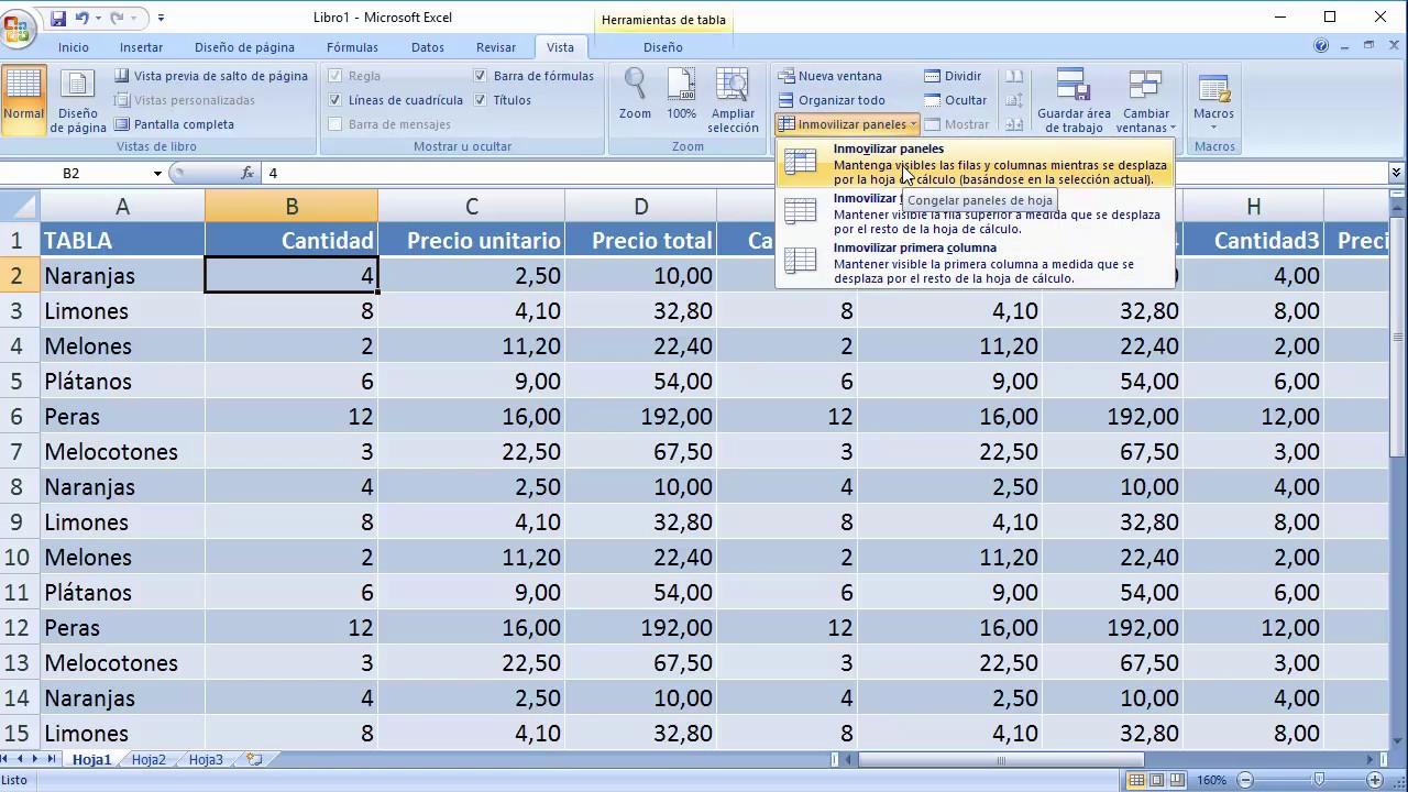 Como Inmovilizar Filas Y Columnas En Excel Youtube