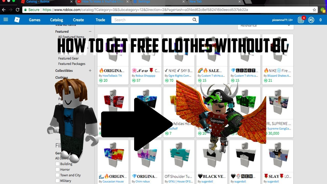 How To Get Free Clothes On Roblox Without Bc 2016 How To Get Free Clothes On Roblox Without Bc July 2018 Youtube
