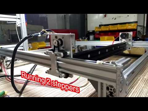 CNC Y axis test Running 2 Stepper motors (NEMA17)  on one TB6600 Driver
