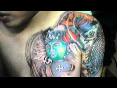 hinh xam dep , rose and Buddha face , by tuan body tattoo & piercing . Thanh pho hue