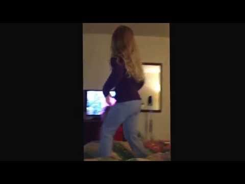 One little monkey jumping on the bed. Will she fall and bump her head?