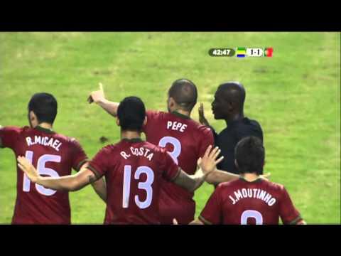 Weird incident as referee tries to award phantom goal in Gabon 2-2 Portugal