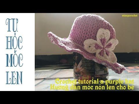 Móc nón len cho bé - mẫu họa tiết V - Crochet a V stitch hat