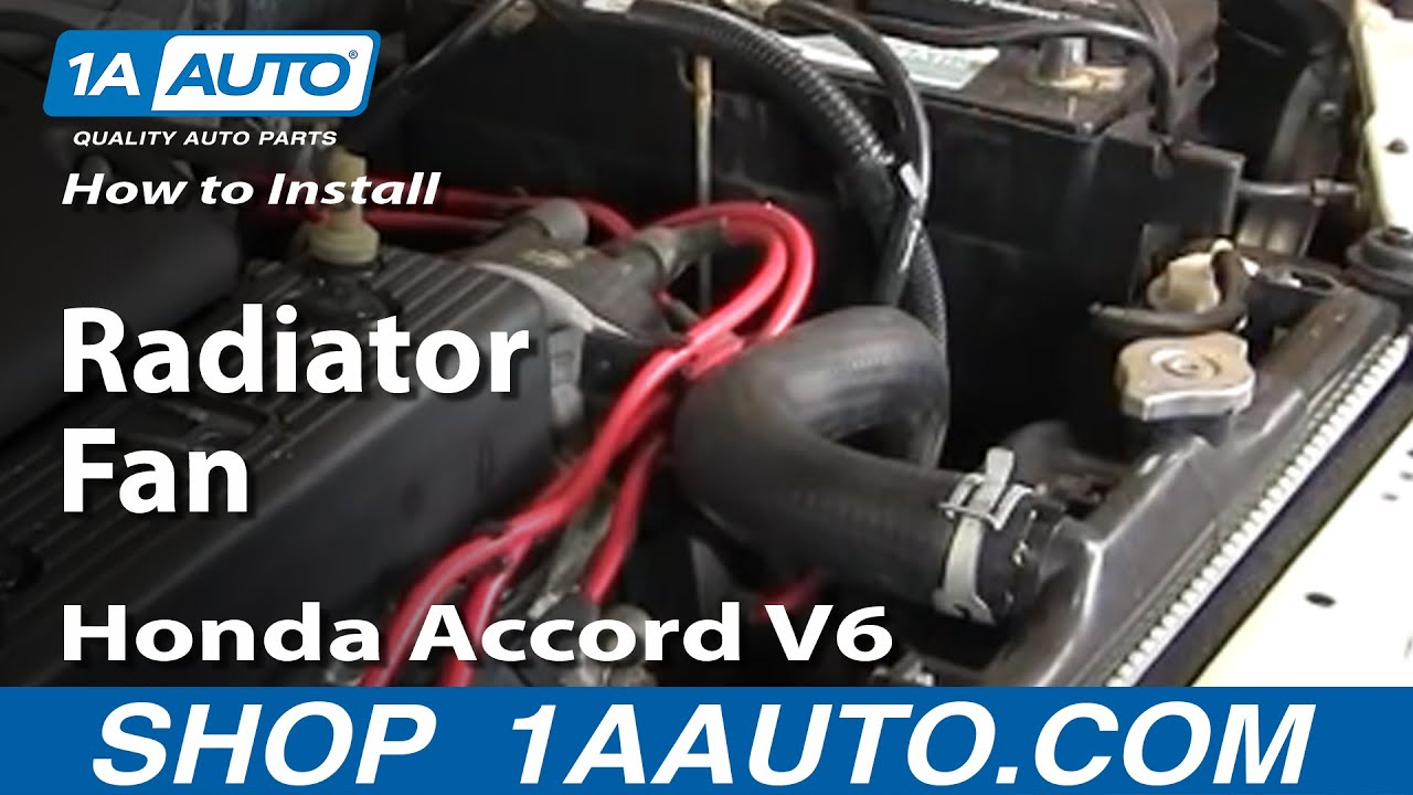 how to install replace radiator fan honda accord v6 94 97 1aauto com [ 1280 x 720 Pixel ]