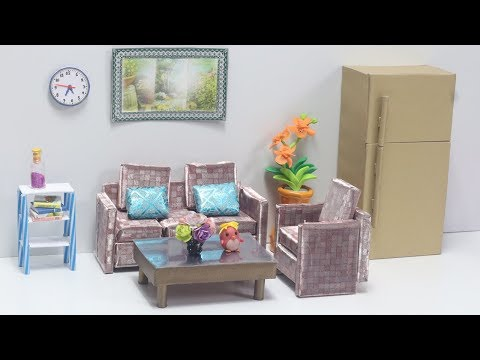 DIY How to make paper Sofa (Easy) - Dollhouse Furniture Miniature Furniture