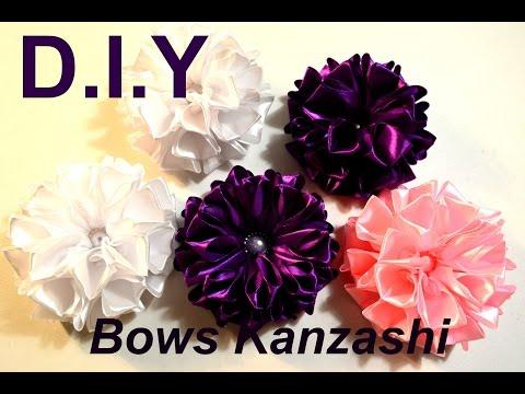 Праздничный бант из атласных лент/Хит продаж/Пышный бантик/Kanzashi Bows/D.I.Y