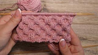 Пористый узор спицами | «Honeycomb» knitting pattern