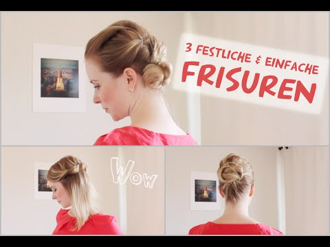 3 festliche einfache frisuren f r silvester abiball oder hochzeit youtube. Black Bedroom Furniture Sets. Home Design Ideas