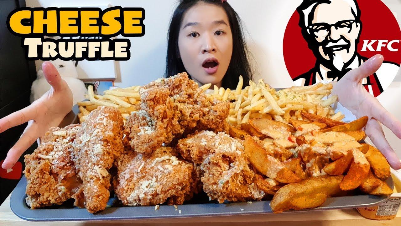 Kfc Parmesan Truffle Chicken Cheesy Fries Crunchy Fried Chicken Mukbang W Asmr Eating Sounds