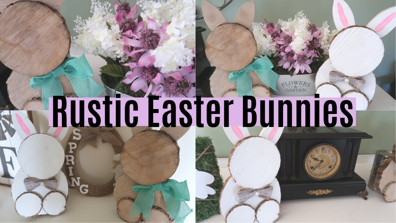 Diy Rustic Farmhouse Bunnies Wood Slice Easter Bunnies Diy Spring Decor