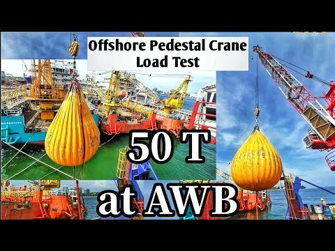 Offshore Pedestal Crane Load Test at AWB Offshore Vessel Oil and Gas