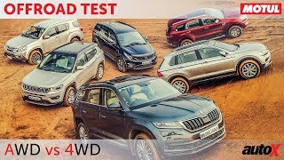 AWD vs 4WD - Kodiaq + Tiguan + Compass + Hexa + MU-X + Endeavour | Offroad Comparison | autoX
