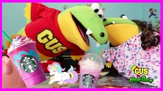 STARBUCKS UNICORN FRAPPE TASTE TEST AND REVIEW with Gus the Gummy Gator