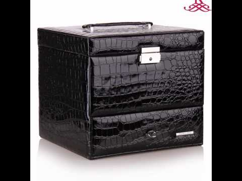 jewelry box faux leather wooden cabinet armoire organizer gift