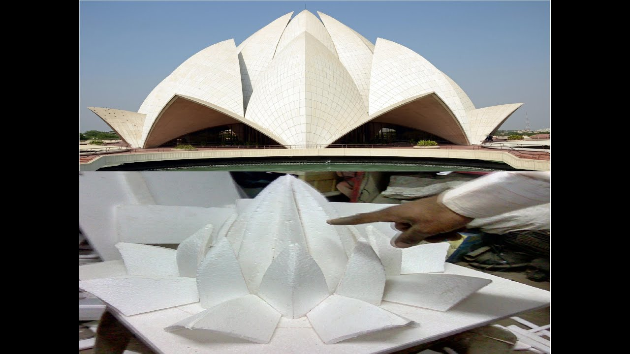 Hand made model of delhi lotus temple youtube for How to make paper temple