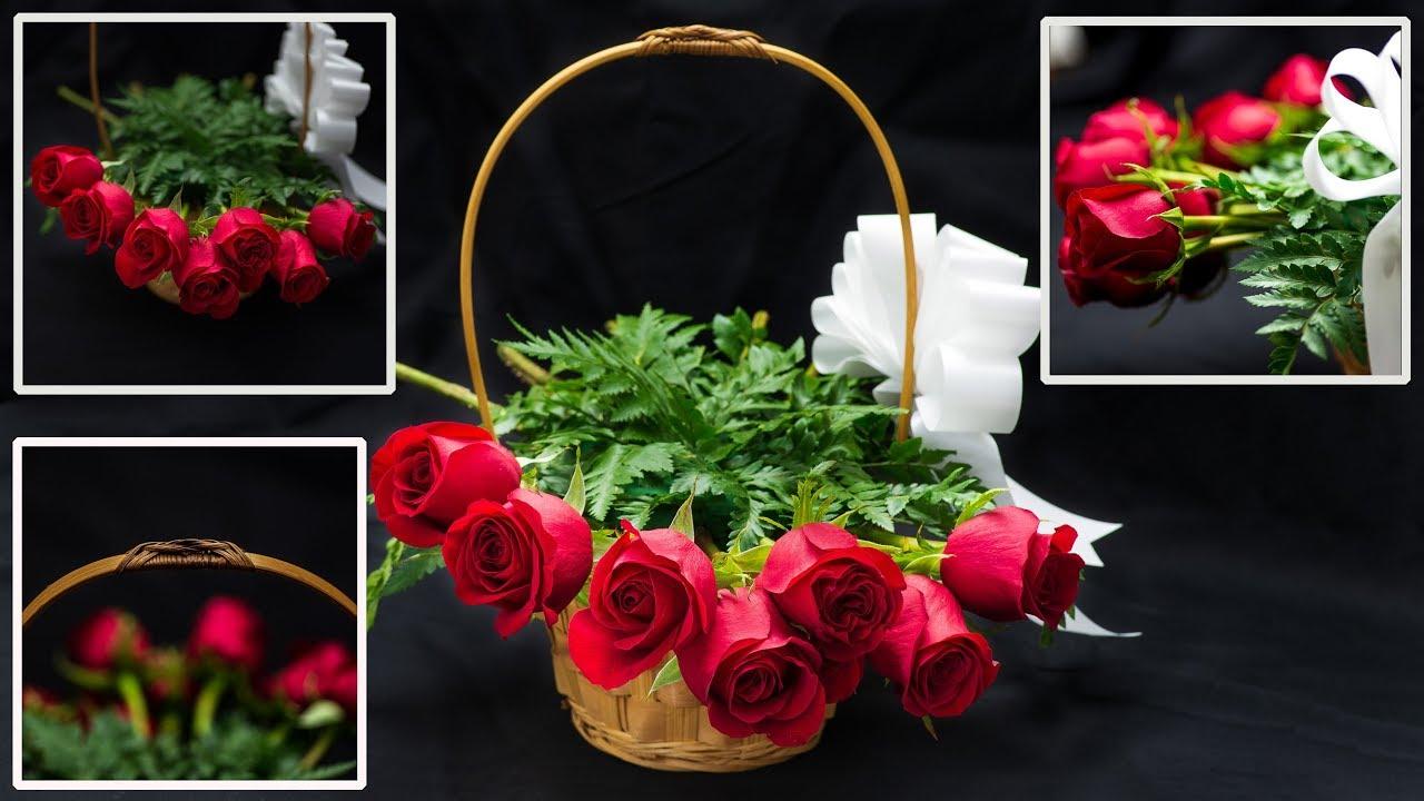 Arreglo Floral De Rosas En Canasta Para Negocio Principiantes