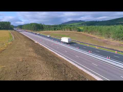A9 dual carriageway (Kincraig to Dalraddy) aerial footage