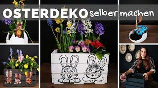 Osterdeko selber machen - Holzkisten bepflanzen & Obstkisten Oster Deko DIY Ideen - Frühlingsdeko