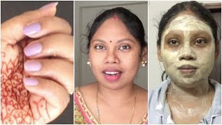 How to Do simply Manicure At Home ||Best products for oily skin||How to apply face pack || Sireesha