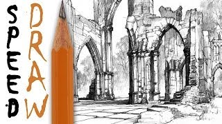 "How to draw architecture - Speed Drawing 10 ""Gothic ruins"" - Michał Orłowski"