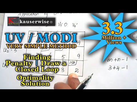 Transportation problem [ MODI method - U V method - Optimal