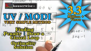 Transportation problem [ MODI method - U V method - Optimal  Solution ] :-by kauserwise