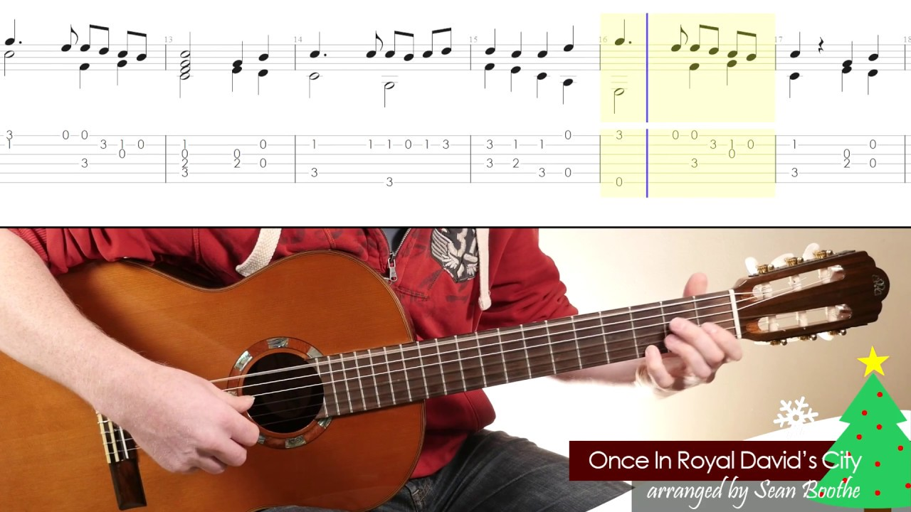 Once In Royal Davids City Easy Guitar Arrangement With Score And