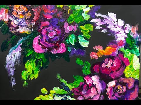 Abstract Roses FINGER PAINTING for Grown ups
