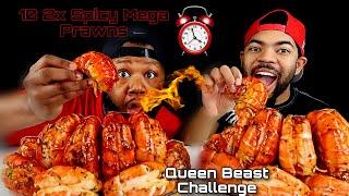10 2x SPICY MEGA PRAWNS CHALLENGE IN 10 MINS (SEAFOOD BOIL MUKBANG) 먹방  QUEEN BEAST