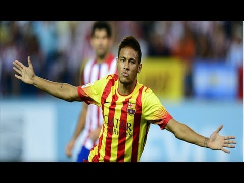 Goal Neymar - Atletico Madrid 1-1 Barcelona HD - Spanish Super Cup 21/8/2013