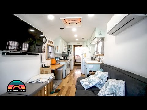 Raised Roof School Bus Built Like A Residential Home - Full Detailed Tour