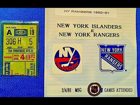 Games Attended NHL 🏒 New York ISLANDERS At New York RANGERS 2/4/81 MSG