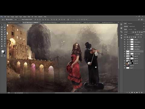 Photoshop Tutorial   Manipulation woman dancing in the rain