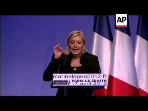 Hollande, Le Pen hold campaign rallies, anti-Le Pen protest held
