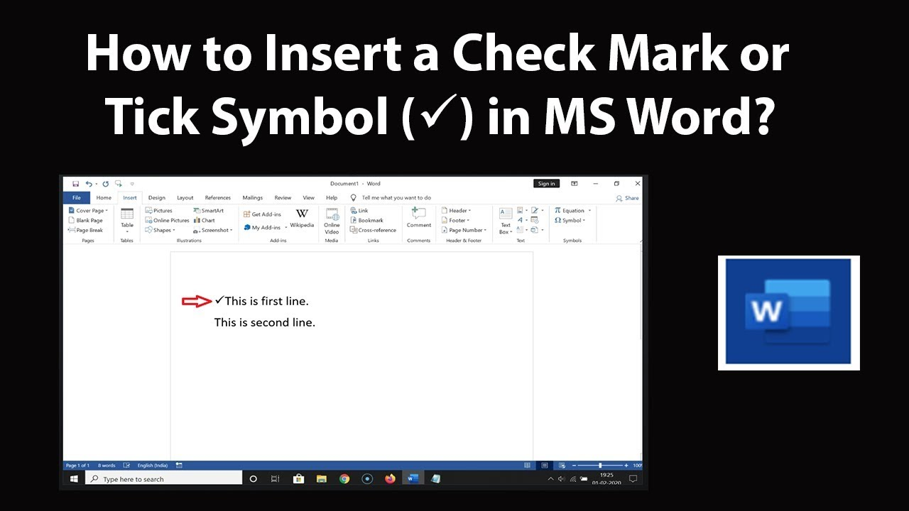 How to Insert a Check Mark or Tick Symbol in MS Word? - YouTube