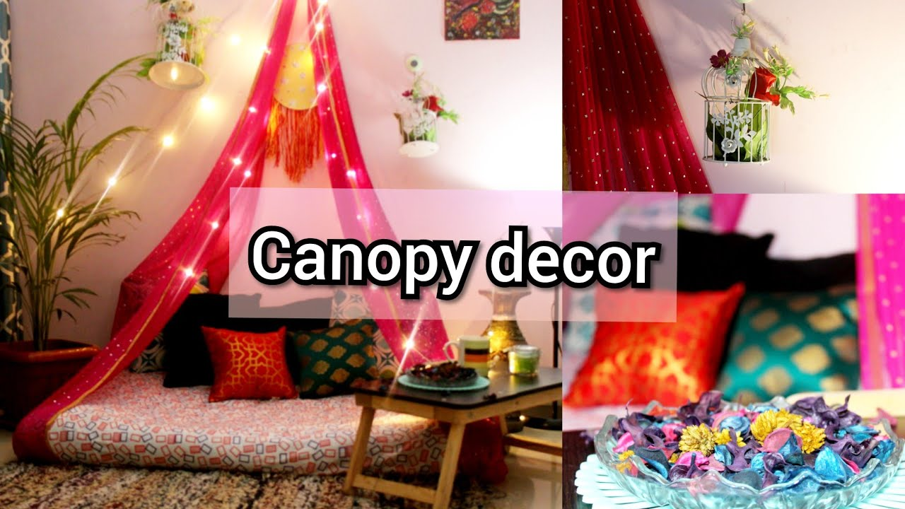 Canopy Floor Seating In Budget Low Budget Home Decor Ideas New Year Living Room Makeover Youtube