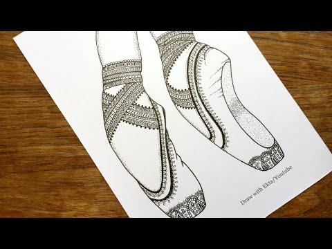 Ballet Shoes Mandala / Pointe shoes Mandala / Ballerina Legs Mandala / Ballet slippers Mandala
