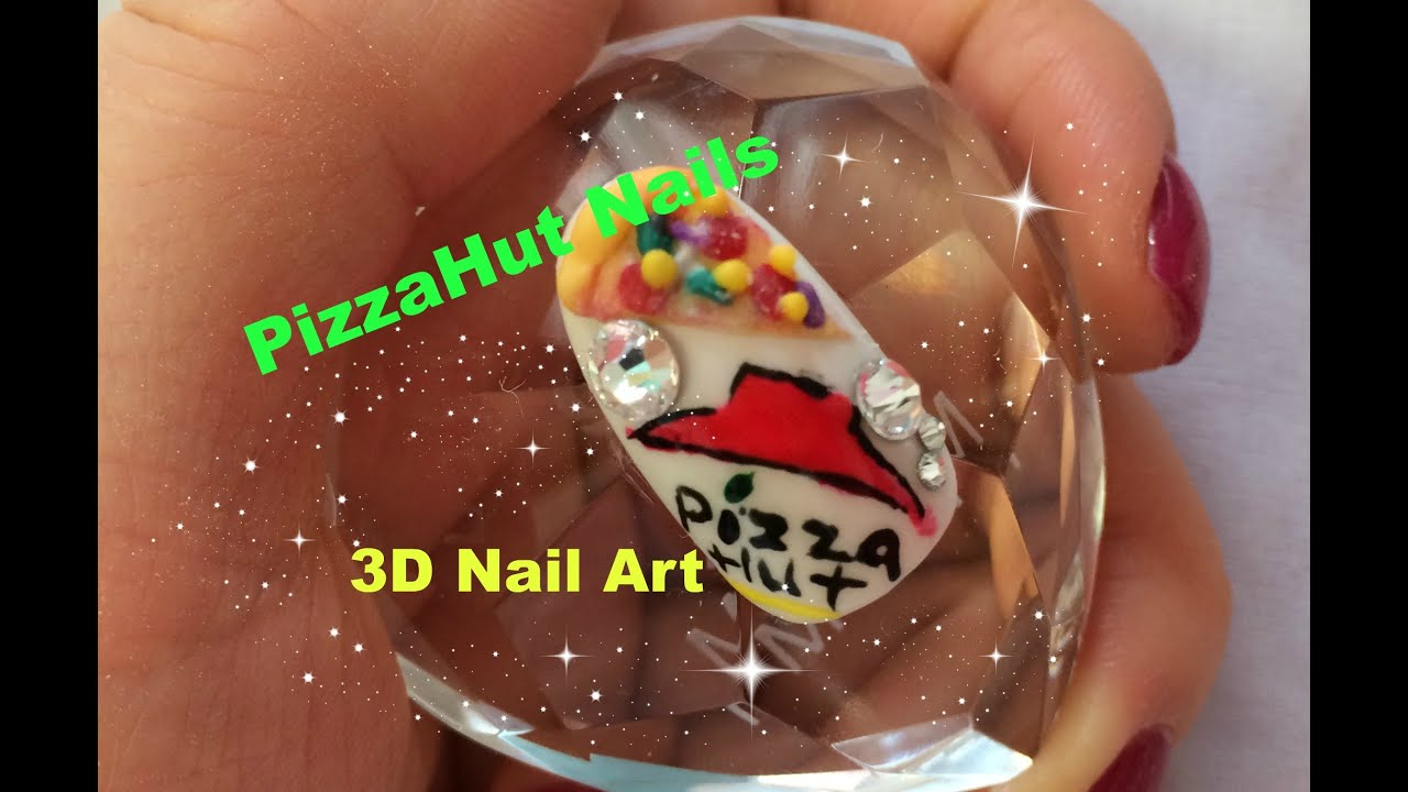 PizzaHut 3D Nail Art Tutorial~~3D Fast Food Nail Tutorial~~ - YouTube