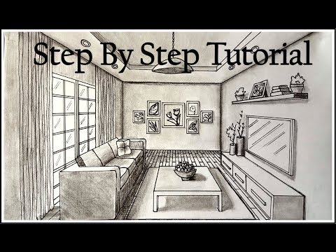 How To Draw A Living Room In One Point Perspective| Step By Step Part 53