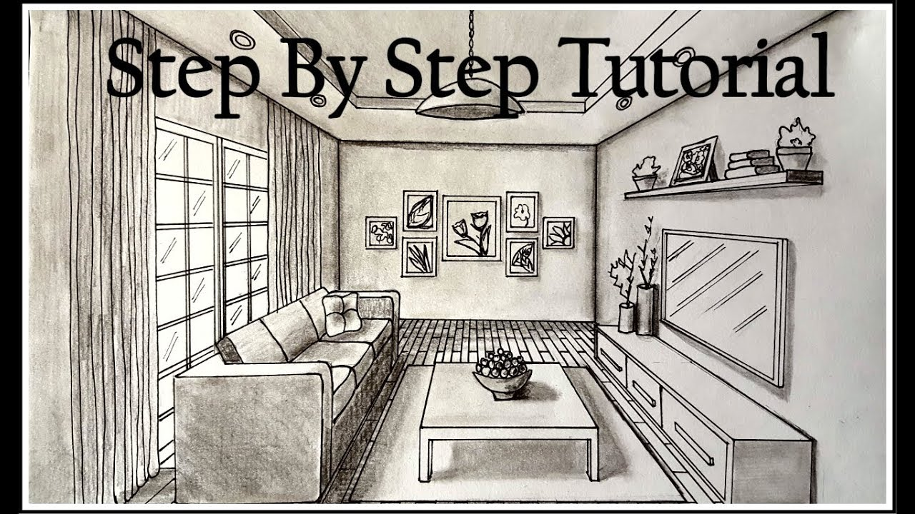 How to draw A Living Room In One Point Perspective  Step ...